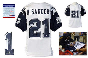 Deion Sanders Autographed Signed Dallas Cowboys White Jersey JSA Witness
