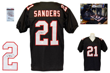 Deion Sanders Signed Jersey - JSA Witnessed - Atlanta Falcons Autographed - Black