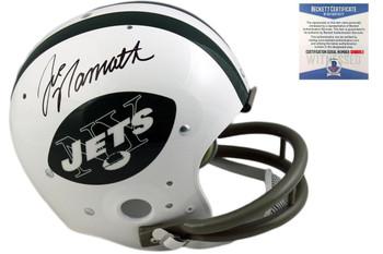 Joe Namath Autographed New York Jets TK 2-Bar Helmet - Beckett
