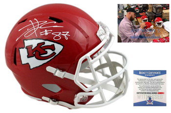 Travis Kelce Autographed Helmet - Kansas City Chiefs Signed - Beckett