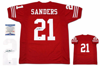 Deion Sanders Autographed Signed Jersey - Beckett Authentic - Red