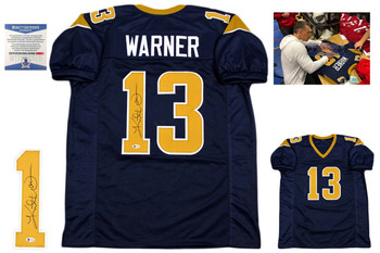 Kurt Warner Signed Jersey - Beckett Authentic - Navy