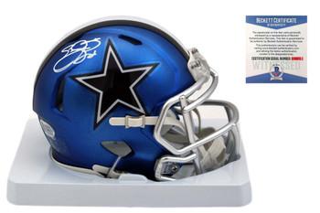 Emmitt Smith Autographed SIGNED Cowboys Blaze Mini Helmet