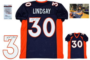 Phillip Lindsay Autographed Signed Jersey - Navy - JSA Authentic