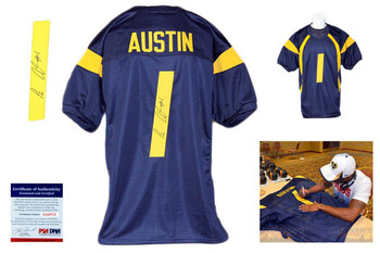 Tavon Austin Autographed Signed West Virginia Mountaineers Navy Jersey PSA DNA