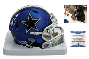 DeMarcus Lawrence Autographed Signed Cowboys Blaze Mini Helmet - Beckett