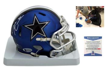 DeMarcus Lawrence Autographed Signed Cowboys Blaze Mini Helmet - Beckett