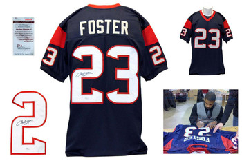 Arian Foster Autographed Signed Houston Texans Navy Jersey JSA Witness