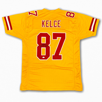 Travis Kelce Autographed Signed Jersey - Gold - Beckett Authentic