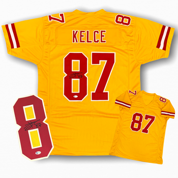Travis Kelce Autographed Signed Jersey - Gold