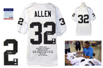 Marcus Allen Autographed Signed Oakland Raiders White Stat Jersey PSA DNA