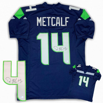 DK Metcalf Autographed Signed Jersey - Navy