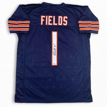 Justin Fields Autographed Signed Jersey - Navy - Beckett Authentic
