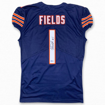 Justin Fields Autographed Signed Game Cut Jersey - Navy - Beckett Authentic