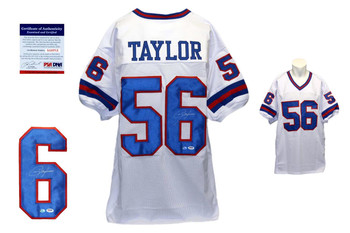 Lawrence Taylor Autographed Signed New York Giants White Jersey PSA DNA