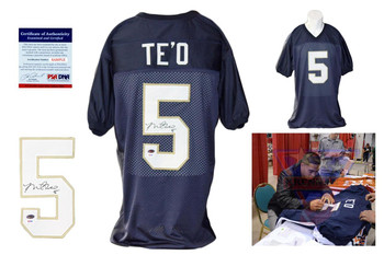 Manti Teo Autographed Signed Navy Jersey