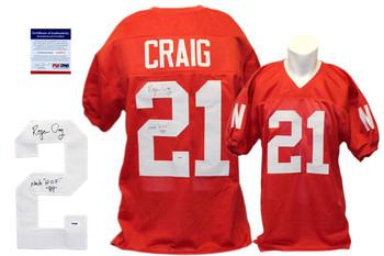 Roger Craig Autographed Signed Nebraska Cornhuskers Red Jersey PSA DNA