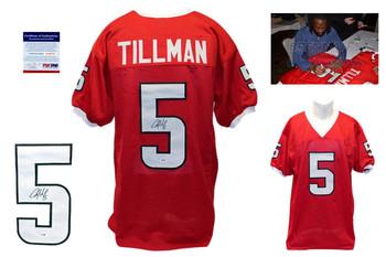 Charles Tillman Signed Red Jersey - PSA DNA - Louisiana Lafayette Ragin Cajuns Autograph