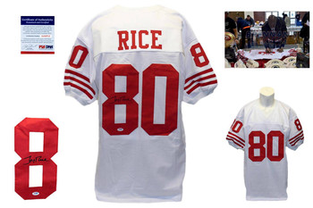 Jerry Rice Signed White Jersey - PSA DNA - San Francisco 49ers Autograph