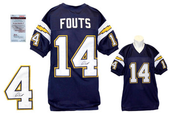 Dan Fouts Signed Navy Jersey - JSA Witness -San Diego Chargers Autograph