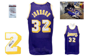 Magic Johnson Signed Purple Jersey - JSA Witness - Los Angeles Lakers Autoraph