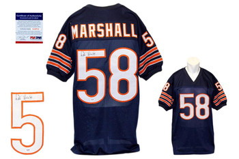 Wilber Marshall Signed Navy Jersey - PSA DNA - Chicago Bears Autograph