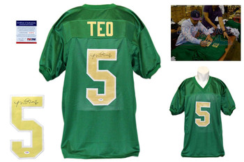 Manti Teo Signed Jersey - PSA DNA - Notre Dame Autograph - Kelly Green