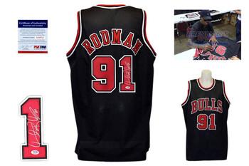 Dennis Rodman Signed Jersey - PSA DNA - Chicago Bulls Autographed - Black