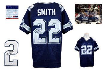 Emmitt Smith Signed Jersey - PSA DNA - Dallas Cowboys Autographed - Navy