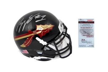 Kelvin Benjamin Signed Florida State Mini-Helmet - JSA Witness Autographed - Black