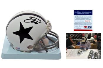 Emmitt Smith Signed Dallas Cowboys Mini Helmet - PSA Authentic - TB