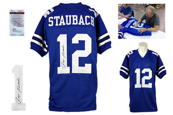 Roger Staubach Signed Jersey - JSA Witness - Dallas Cowboys Autographed - Royal