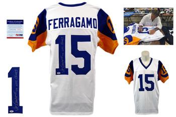 Vince Ferragamo Signed Jersey - PSA DNA - LA Rams Autographed - White