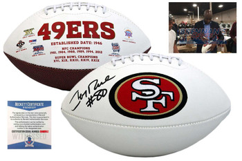 Jerry Rice Signed Football - Beckett Witnessed - San Francisco 49ers Autographed