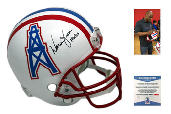 Warren Moon Signed Helmet - Full Size Houston Oilers Autographed - JSA