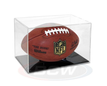 FOOTBALL DISPLAY CASE with GRANDSTAND - NFL, BOXING GLOVES