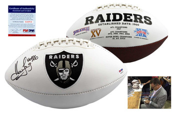 Howie Long Signed Oakland Raiders Logo Football - PSA DNA Autographed
