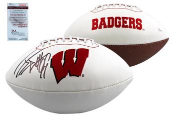 JJ Watt Signed Wisconsin Badgers Logo Football - JSA Witness Autographed