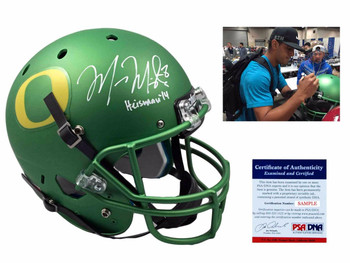 Marcus Mariota Autographed Oregon Ducks Full Size Rep Helmet - Green - Beckett Authentic