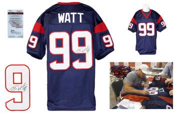 JJ Watt Autographed Signed Houston Texans Navy Jersey JSA Witness