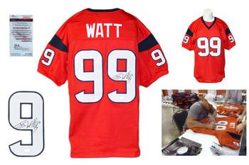 JJ Watt Autographed Signed Houston Texans Red Jersey JSA Witness