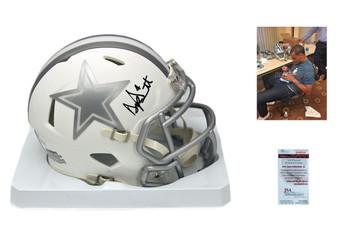 Dak Prescott Signed Speed ICE Mini Helmet - JSA Witness - Dallas Cowboys Autographed