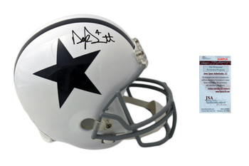 Dak Prescott Signed Throwback Rep Helmet - JSA Witness - Dallas Cowboys Autographed