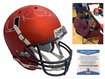 Michael Irvin Autographed Miami Hurricanes Full Size Helmet - Beckett - Orange
