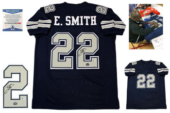 Emmitt Smith Signed Jersey - Beckett - Dallas Cowboys Autographed - Navy TB