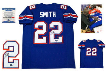 Emmitt Smith Signed Jersey - Beckett - Florida Gators Autographed - Royal