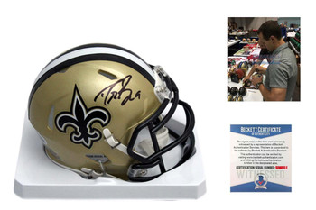 Drew Brees Autographed New Orleans Saints Speed Mini Helmet - Beckett Authentic