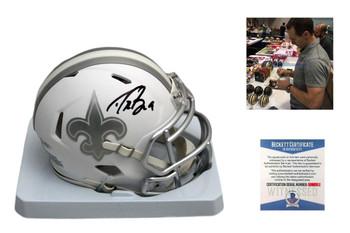 Drew Brees Signed New Orleans Saints ICE Speed Mini Helmet - Beckett Authentic