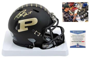 Drew Brees Signed Purdue Boilermakers Mini Helmet - Beckett Authentic - Matte Black