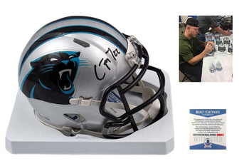 Christian McCaffrey Signed Carolina Panthers Mini Helmet - Beckett Authentic